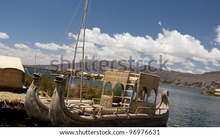 Dragon Boat on Lake Titicaca - stock photo