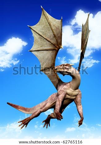 dragon casual flight blue sky - stock photo