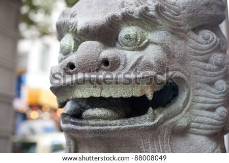 Dragon closeup at the Chinese Pagoda - stock photo