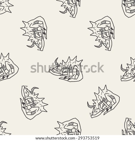 dragon doodle seamless pattern background