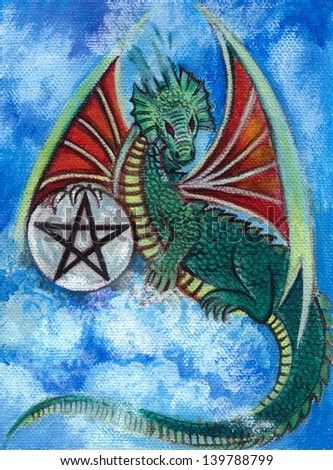 Dragon fantasy. Acrylic color painting on canvas.