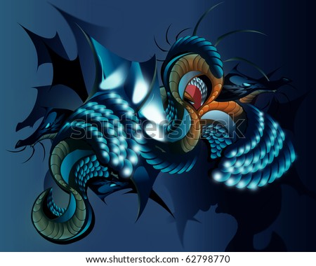 dragon fight - stock photo