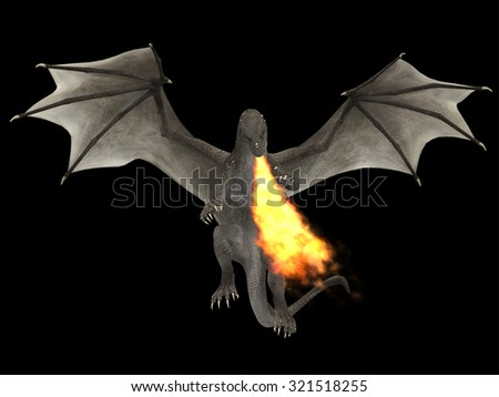 Dragon Fire - A fierce dragon with huge teeth and claws breathes fire as a weapon as he rises with outspread wings. - stock photo