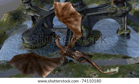 dragon fly over castle - stock photo