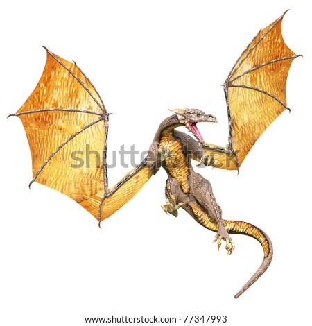 dragon flying ouot - stock photo