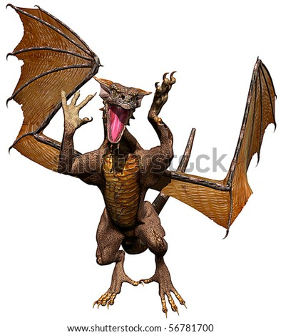dragon front attack - stock photo