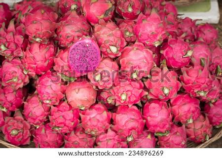 Dragon Fruit, Markets, Siem Reap, cambodia - stock photo