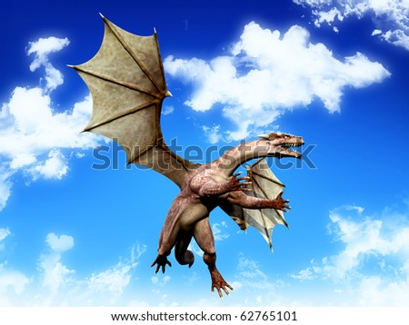 dragon hunting on the blue sky - stock photo