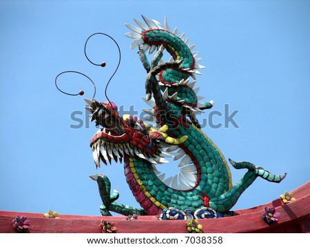 Dragon in oriental temple's roof
