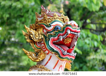 Dragon in Thailand temple - stock photo