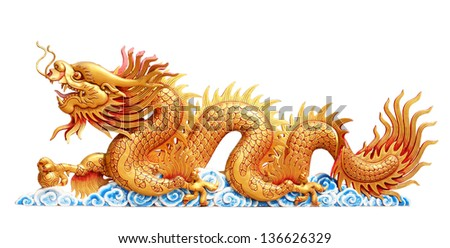 Dragon Isolated on White, With Clipping Path