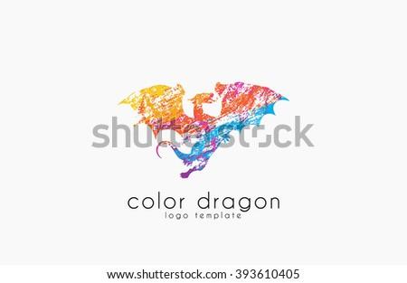 Dragon Logo. Color dragon logo. Creative logo design. Animal logo. Mystic logo. Magic logo. - stock photo