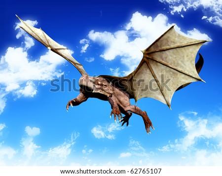 dragon looking around on blue sky - stock photo