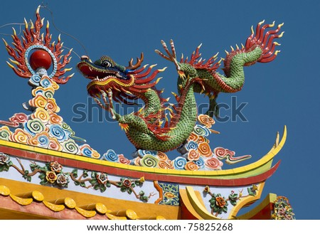 dragon on chinese temple, Tajnung Sepang, Malaysia