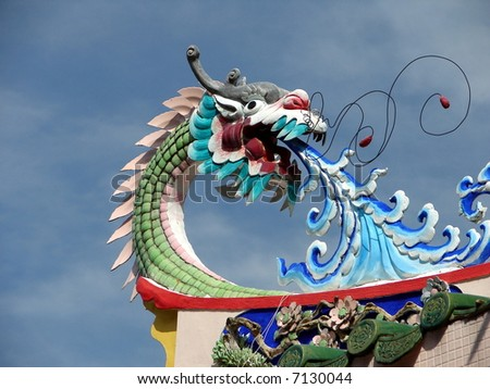 Dragon on oriental temple roof's corner