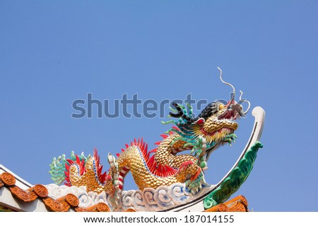Dragon on roof temple chinese