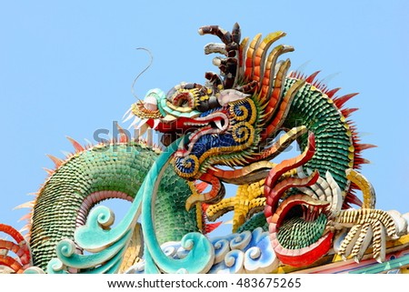 Dragon on the roof at Chinese temple in Thailand