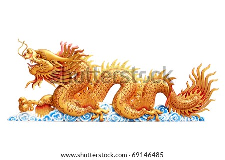 Dragon on white background - stock photo