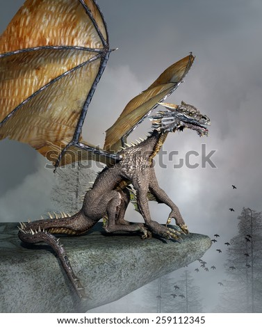 Dragon over a rock - stock photo