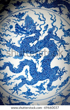 Dragon painted on plate - stock photo