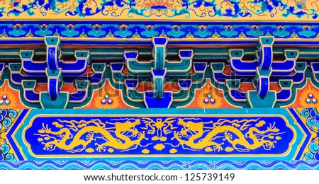 Dragon painting on chinese temple in thailand - stock photo