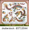 dragon painting on marble wall of chinese temple in thailand - stock photo