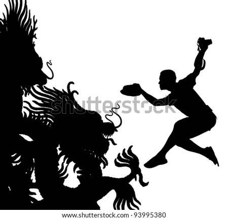 Dragon photographer. Black Dragon with jumping cameraman to shoot up. - stock photo