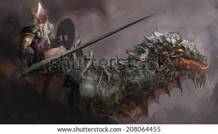 Dragon Rider ready for attack  - stock photo