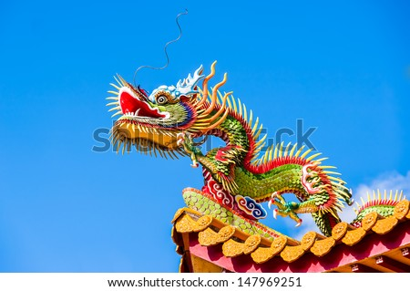 Dragon sculpture chinese style in the Chinese temple - stock photo