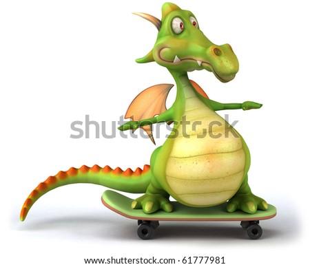 Dragon skateboarding - stock photo
