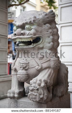 Dragon statue at San Francisco China Town - stock photo