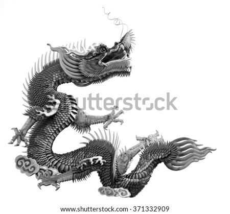 Dragon statue Chinese style black and white color
