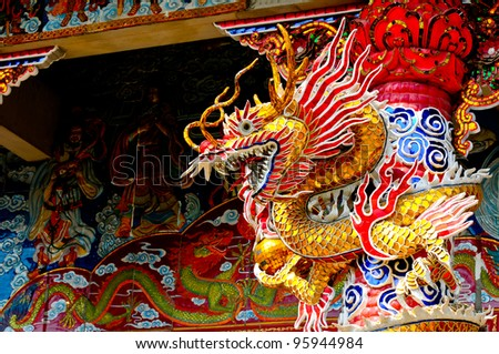 Dragon statue in Chiense temple.