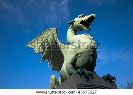 Dragon statue in Ljubljana, Slovenia - stock photo