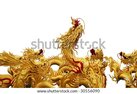 Dragon statue isolated on white background - stock photo