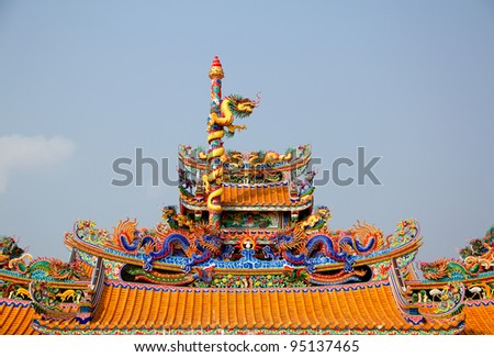 dragon statue on china temple roof as asian art
