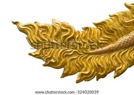 Dragon tail sculpt isolated on white background - stock photo