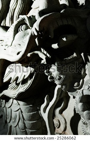Dragon wall ,Chinese temple in Thailand - stock photo