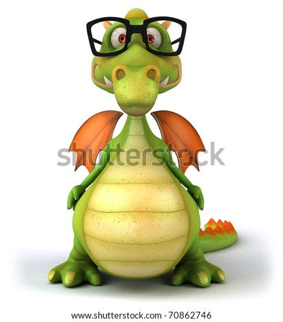 Dragon with glasses - stock photo