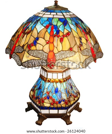 Dragonfly Glass Lamp isolated with clipping path - stock photo