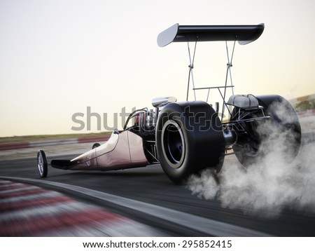Dragster racing down the track with burnout. Photo realistic 3d model scene with room for text or copy space. - stock photo