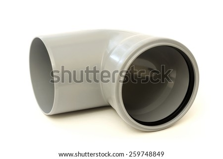 Drain pipe grey corner isolated on white background - stock photo