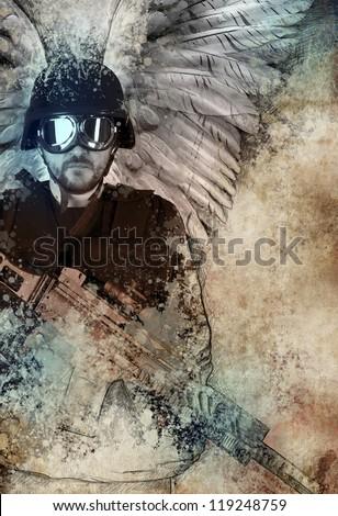 Drak angel with gun, fantasy concept - stock photo