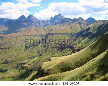 Drakensberg Mountains, South Africa. Cathedral Peak is the high point on the skyline.