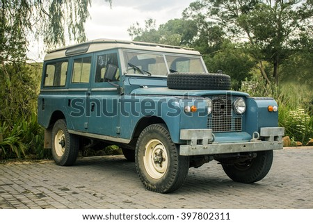 Drakensberg, South Africa - 25 march 2016: Land Rover old model 4 W vehicle in Golden Gate Highlands National Park of South Africa. Vintage car style.