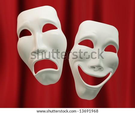 Drama and comedy symbols - stock photo