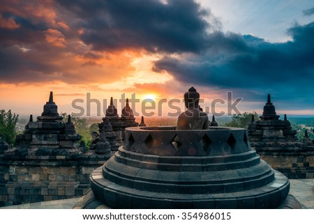 Dramatic and colourful sunrise seen from the Borobudur - stock photo