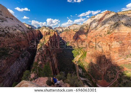 Dramatic Angel's Landing scenery in Zion National Park, Utah