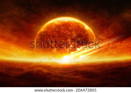 Dramatic apocalyptic background - burning and exploding planet Earth, hell, asteroid impact, glowing horizon. Elements of this image furnished by NASA - stock photo