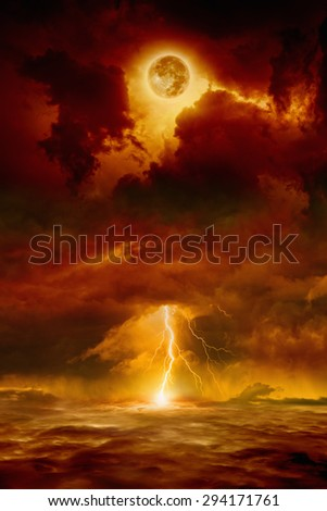 Dramatic apocalyptic background - dark red sky with full moon and lightning, end of world, judgment day. Elements of this image furnished by NASA nasa.gov - stock photo